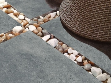 What is the difference between Tiling, Paving and Cladding 1 outdoor porcelain tiles dark with stones