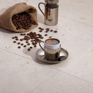 Shell Beige 42 Shell Beige 16x16 Brushed Tile with Coffee Closeby