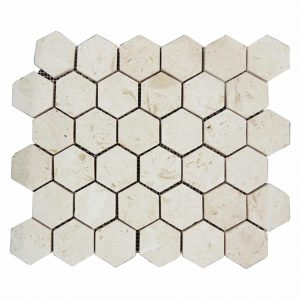 Shell Beige Hexagon Limestone Mosaic 4 Shell Beige Hexagon Limestone Mosaic Tile Product Pic