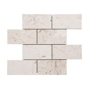 "Shell Beige 3""x6"" Subway Limestone Mosaic 11 shell beige 3x6 Subway H F limestone mosaic tile product pic"