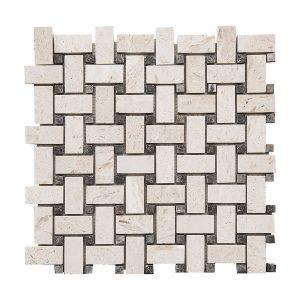 Shell Beige Basketweave Limestone Mosaic 5 shell beige basketweave limestone mosaic tile product pic