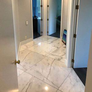 Bianco Ibiza 14 Bianco Ibiza 24x24 Marble Tile Floor Hall Design Pic