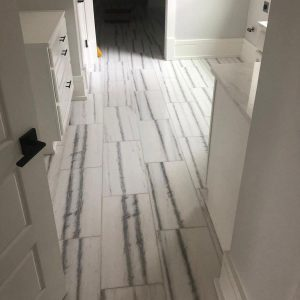 Bianco Vena 3 Bianco Vena 12x24 Marble Tile Floor Bathroom Project