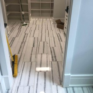 Bianco Vena 8 Bianco Vena 12x24 Marble Tile Floor Dressing Room Project