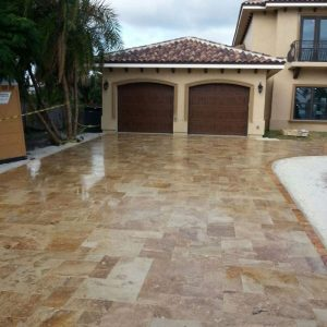 Noche 20 French Pattern Noche Travertine Paver Outdoor Floor Pic