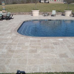 Walnut 8 French Pattern Walnut Paver Poolside Project Pic