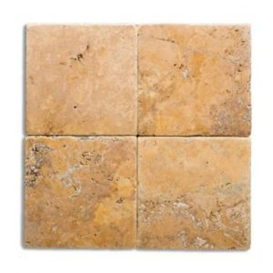 "Gold 4""x4"" Travertine Tile 1 Gold 4x4 Tumbled Travertine Tile Product Pic"