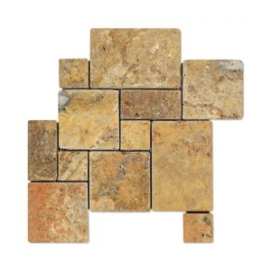 Gold Mini French Pattern Travertine Mosaic 9 Gold Mini French Pattern Mosaic Product pic