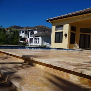 Gold 25 Gold Travertine 16x16 French Pattern Paver Steps Project Pic