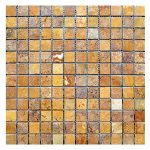 Gold Mini French Pattern Travertine Mosaic 1 Gold Travertine 1x1 Mosaic Product Pic
