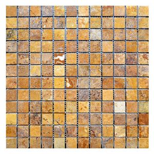 "Gold 1""x1"" Travertine Mosaic 10 Gold Travertine 1x1 Mosaic Product Pic"