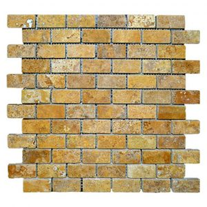 "Gold 1""x2"" Travertine Mosaic 3 Gold Travertine 1x2 Mosaic Product Pic"