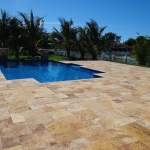 Gold 23 Gold Travertine French Pattern Paver Pool Area Project Pic