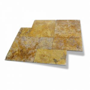 Gold French Pattern Travertine Paver 7 Gold Travertine French Pattern Paver Product Pic