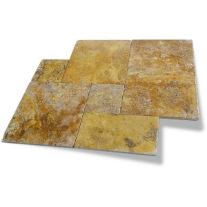 Gold French Pattern Travertine Tile 2 Gold Travertine French Pattern Tile Product Pic