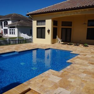 Gold 22 Gold Travertine French pattern Pool Area Jobside Pic