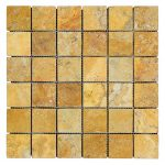 "Gold 2""x2"" Travertine Mosaic 1 Gold Tumbled Travertine Mosaic Tiles 2x2 Product Pic"