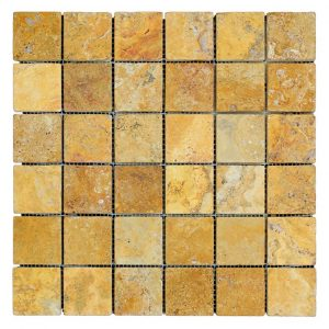 "Gold 2""x2"" Travertine Mosaic 3 Gold Tumbled Travertine Mosaic Tiles 2x2 Product Pic"