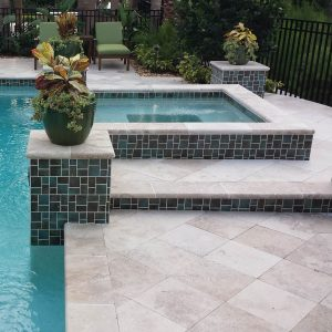 Ivory 46 Ivory 16x16 Travertine Paver Project Jobside Pic