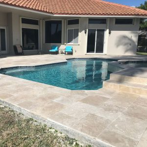 Ivory 47 Ivory 16x24 Travertine Paver Pool area Jobside Pic