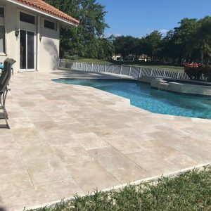 Ivory 48 Ivory 16x24 Travertine Paver Pool area Project Pic
