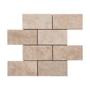 "Ivory 3""x6"" Subway Travertine Mosaic 7 Ivory 3x6 Honed Filled travertine mosaic tile Product Pic"