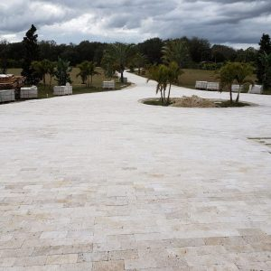 Ivory 40 Ivory 6x12 Travertine Paver Driveway luxury Jobside Pic