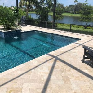 Ivory 39 Ivory 6x12 Travertine Paver Poolside Project pic