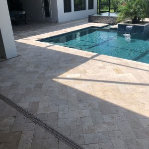 Ivory 42 Ivory 6x12 Travertine paver Outdoor Project pic