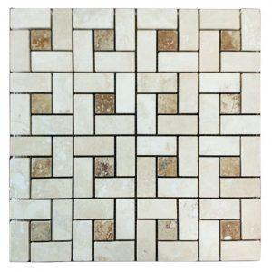 Ivory Noche Mix Pinwheel Travertine Mosaic 17 Ivory Noche Mix Pinwheel Travertine Mosaic Tile Product Pic