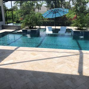 Ivory 37 Ivory Travertine 6x12 Paver Outdoor Jobside Pic
