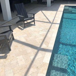 Ivory 38 Ivory Travertine 6x12 paver pool Area Jobside Pic