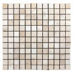 Ivory Noche Mix Tri-Strip Travertine Mosaic 2 Ivory Travertine Tumbled 1x1 Mosaic Product Pic