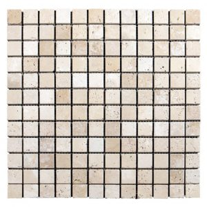 "Ivory 1""x1"" Travertine Mosaic 3 Ivory Travertine Tumbled 1x1 Mosaic Product Pic"