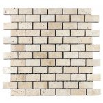 "Ivory 1""x2"" Travertine Mosaic 1 Ivory Travertine Tumbled 1x2 Mosaic Product Pic"
