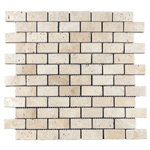 "Ivory 1""x2"" Travertine Mosaic 7 Ivory Travertine Tumbled 1x2 Mosaic Product Pic"