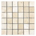 "Ivory 2""x4"" Travertine Mosaic 1 Ivory Travertine Tumbled 2x2 Mosaic Product Pic"