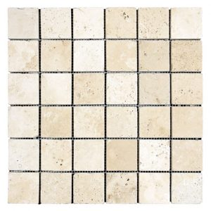 "Ivory 2""x2"" Travertine Mosaic 4 Ivory Travertine Tumbled 2x2 Mosaic Product Pic"