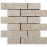 "Ivory 2""x4"" Travertine Mosaic 1 Ivory Travertine Tumbled 2x4 Mosaic Product Pic"