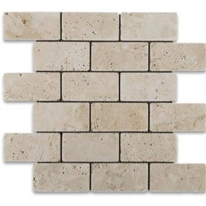 "Ivory 2""x4"" Travertine Mosaic 10 Ivory Travertine Tumbled 2x4 Mosaic Product Pic"