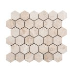 Ivory Basketweave Travertine Mosaic 2 Ivory hexagon travertine mosaic tile Product pic