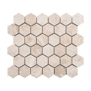 Ivory Hexagon Travertine Mosaic 15 Ivory hexagon travertine mosaic tile Product pic