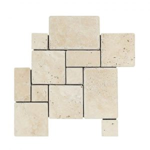 Ivory Mini French Pattern Travertine Mosaic 4 Ivory mini french pattern set Product Pic
