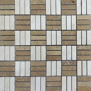 Ivory Noche Mix Tri-Strip Travertine Mosaic 3 Ivory noche Travertine Mix Tumbled Mosaic Product Pic