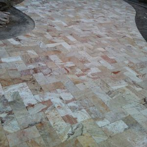 Leonardo 5 Leonardo 6x12 Travertine paver Driveway Project Pic