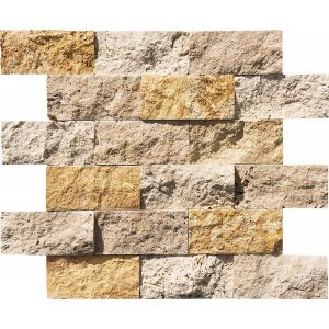 "Mix 2""x4"" Splitface Ledger 8 Mix 2x4 Travertine Splitface Ledger Product Pic"