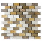 "Mix 2""x2"" Travertine Mosaic 2 Mixed 1x2 Travertine Mosaic Product Pic"