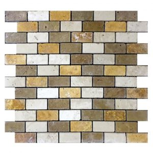 "Mix 1""x2"" Travertine Mosaic 4 Mixed 1x2 Travertine Mosaic Product Pic"