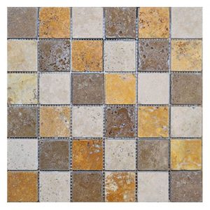 "Mix 2""x2"" Travertine Mosaic 5 Mixed 2x2 Travertine Mosaic Product Pic"