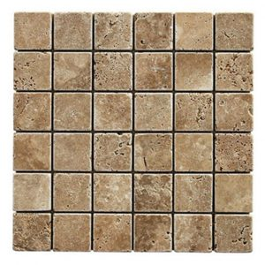 "Noche 2""x2"" Travertine Mosaic 7 Noche Tumbled 2x2 Travertine Mosaic Product Pic"